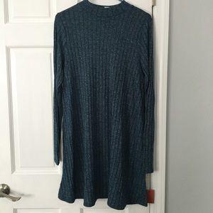 Teal heathered mock neck dress